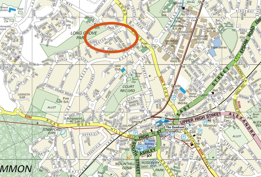 Map of Epsom